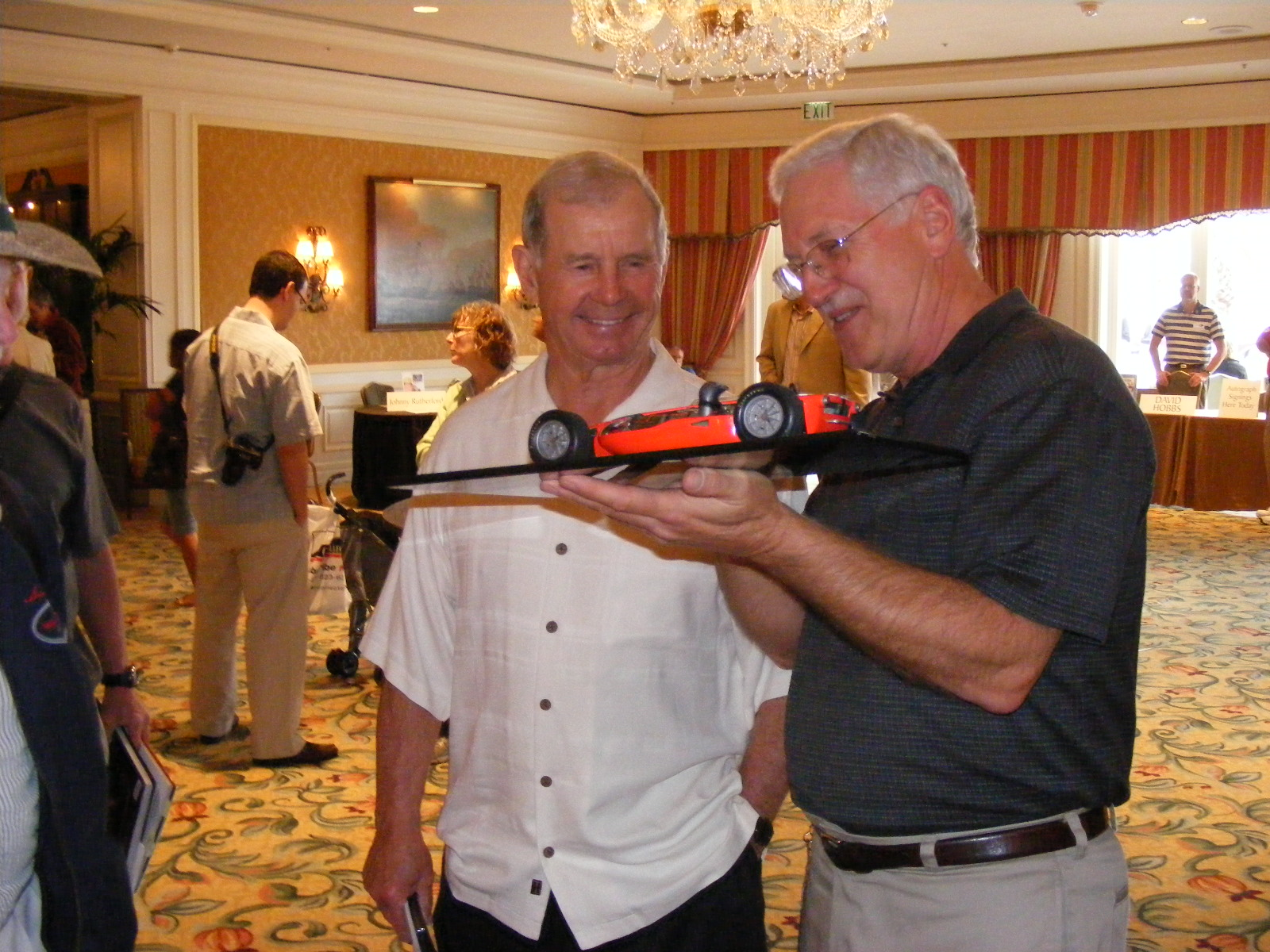 Showing Parnelli Jones the STP Turbine model